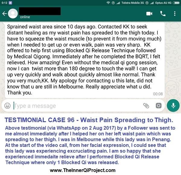 Blocked Qi Release Technique Testimonial Case 96 Waist Pain