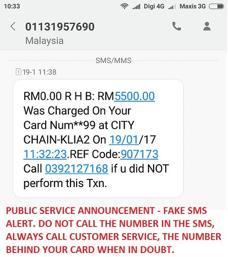 Fake Credit Card SMS Alert