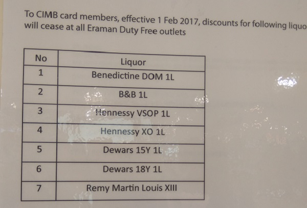 No Discount at Eraman with CIMB credit cards