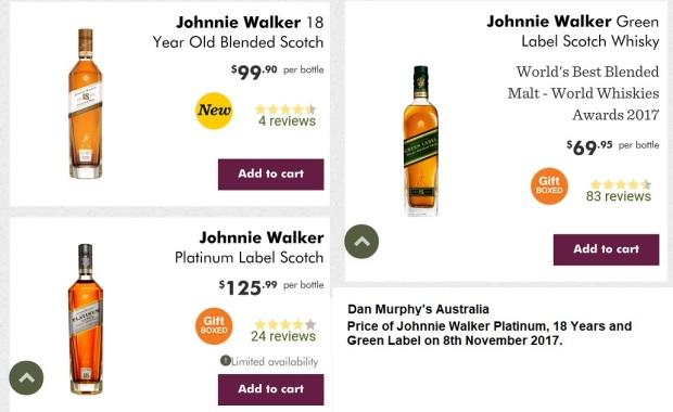 Johnnie Walker Platinum 18 Years Green Label Price